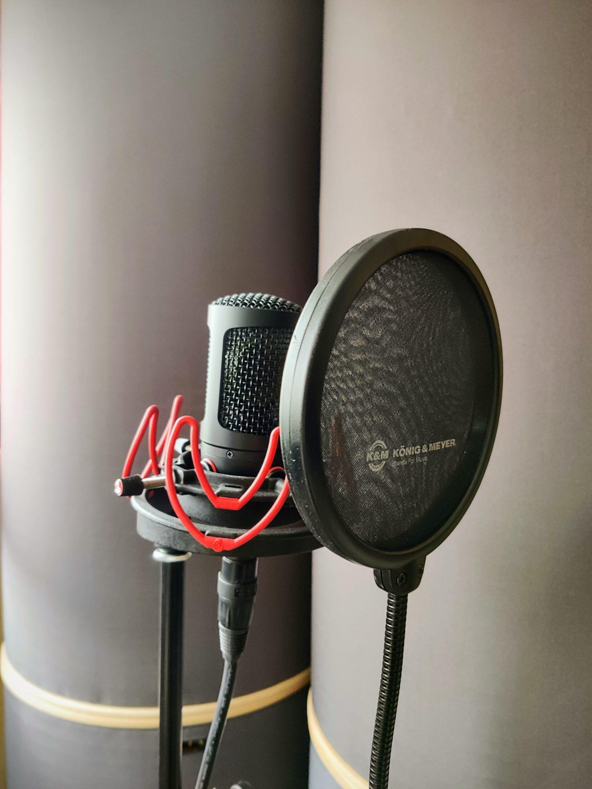 Großmembran-Kondensatormikrofon mit Mikrofonspinne und Pop-Schutz für Vocal-Recordings.
