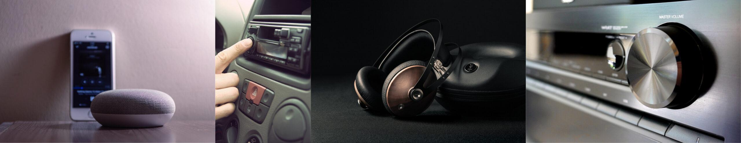 Bluetooth-Lautsprecher, Kopfhörer, Auto-Radio und Hi-Fi-Anlage. Verschiedene Wiedergabesysteme, für die Songs im Mixing-Studio optimiert werden.